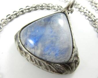 cuchulain - bloodstone heliotrope & moonstone reversible crystal pendant