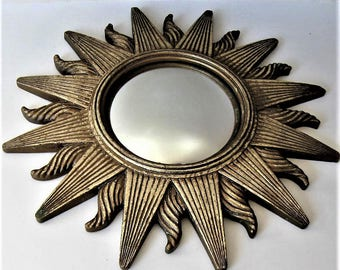 "12 1/2"" Hollywood Regency Sunburst Convex Mirror, Mid Century Style, Vintage gold Sun Wall Hanging, Celestial, Paris apartment, gift idea"