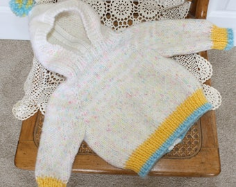 Vintage Knit Baby Girl's Sweater . Crocheted Hooded Babies Sweater with Zipper in Back . Size 3 Months to 6 Months