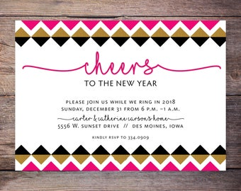 cheers to the new years party invitation pink black and gold new years eve