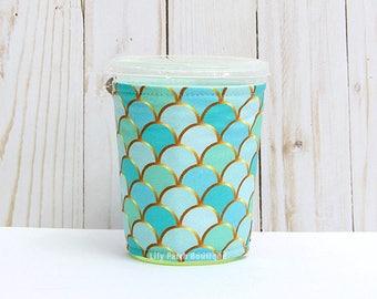 Small Aqua Mint Mermaid Coffee Cozy, Aqua Mermaid Cup Sleeve, Iced Coffee Cozy, Cup Sleeve, Eco Friendly, Insulated Cup Sleeve,