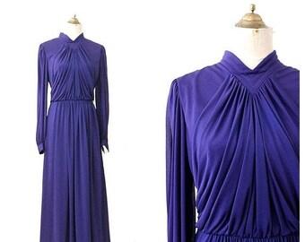 1970 long purple dress Drape Long sleeves