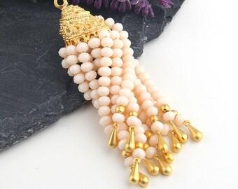 Pearl Cream, Crystal Beaded Tassel, Tassel Pendant, 1 piece // TAS-129