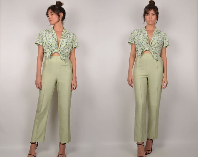 Vintage Mint Trouser Pants High Waisted