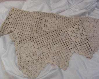 Antique Beige Crocheted Lace  - 10 Inches Wide x 72 Inches Long