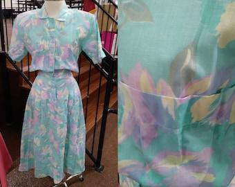 Women's Dress, Long Floral Dress, Size 8, Miss Oops California Dress, Pastel Floral Dress, Flowered Dress, Turquoise Dress, Teal Dress