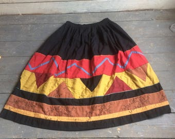 Cotton Patchwork Skirt - Karavan - Black Red Yellow - Ethnic Design - Appliqué - Pockets - South West Design