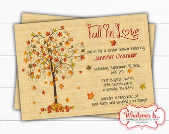 Fall In Love Bridal Shower Invitation | Fall Bridal Shower | Fall Wedding | Bridal Shower Invitation | Fall Printable Bridal Shower