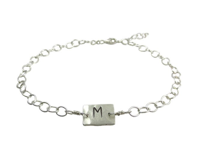 Initial Charm Bracelet or Anklet in Sterling Silver