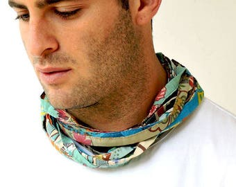 Festival Scarf, Mens Festival Clothing, Mens Neck Scarf, Mens Long Scarves, Cotton Scarf, Blue Scarf, Boho Scarf, Skinny Scarf, Winter Scarf