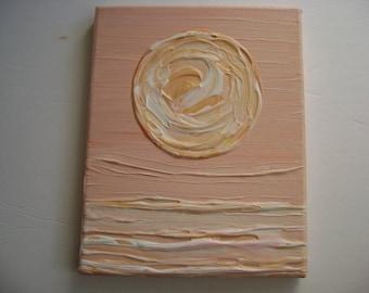 Peach Moon - Original Acrylic Painting Canvas - 10 x 8