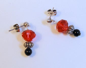 Red Rondelle and Black Onyx Post Earrings