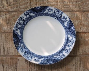 Adderley Ltd Flow Blue Dinner Plate Nankin Blue Staffordshire, Wedding, Tea Party Replacement China