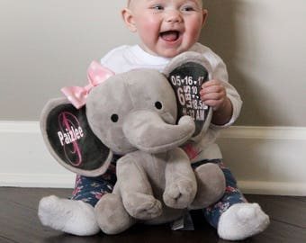 Birth announcement stuffed animal, memory bear, elephant, newborn present, Christmas present, baby shower, baby gift, baby present, stuffed