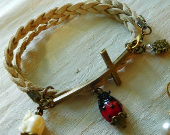 Natural suede leather breaded bracelet with bronze tone Cross and charms #B00213