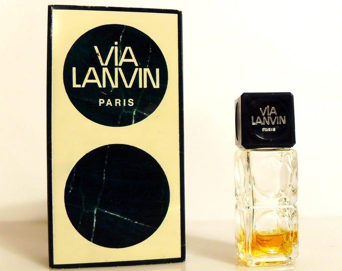 Vintage 1970s Via Lanvin Eau de Toilette Splash and Box Mini Miniature PERFUME