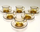 Vintage French Smoked Glass Arcoroc Set of Six Cups and Saucers