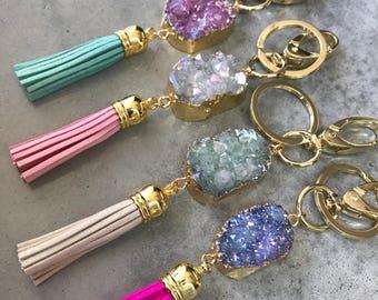 Key Chains, Druzy Tassel Key chains, sister gift, gift for her, Druzy, boho wedding, friend gift, hostess gift