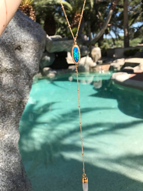 Blue Opal and moonstone lariat necklace, birthstone jewelry