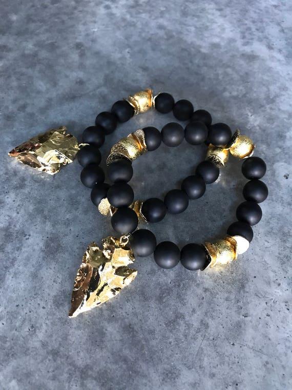 Arrowhead bracelets, onyx bracelet, boho jewelry