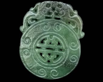 Dragon Jade Pendant Double Side Gemstone bead Amulet Talisman Carved Long Life Rich Natural Green Jade Pendant