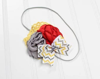 CLEARANCE 40% OFF Darling headband in fun colors of red, yellow, grey and white (RTS)