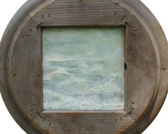 "Original Encaustic Painting with Vintage Corbel Frame - ""Virescent No. 2"""