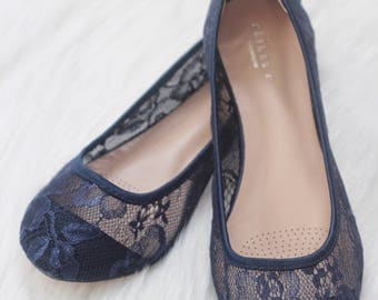 Women Wedding Shoes, Bridesmaid Shoes - NAVY lace flats, Perfect for brides, bridesmaid gifts, wedding party shoes