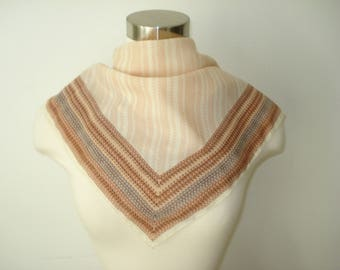 Vintage Square Tan Patterned Scarf  - Autumn Fall  Scarves - Womens Accessories 1970s