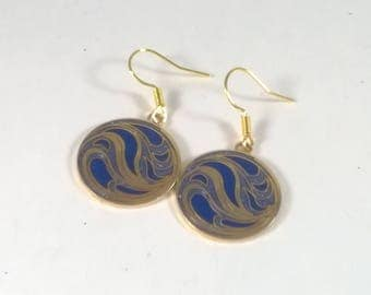 Vintage Blue Wave Earrings  - Round Roccoco  Dangle - Pierced - Fashion Jewelry Native Art - 1980s - By Roccoco