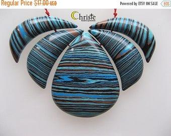 SALE Blue Howlite Pendant Bead Set 5 pieces Lotus shape