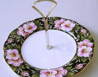 3-day SALE Vintage Appetizer Serving Plate, Provencial Flowers, Royal Albert china, cheese plate