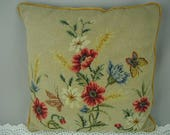 Vintage Needlepoint Pillow, Multi-Color Flower Bouquet, With Butterfly, One of a Kind, Wool Needlepoint, 17 Inches Square, Shabby Cottage