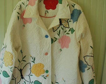 Jacket From a Patchwork Quilt, Vintage Buttons, Size Large, One of A Kind, Hand Quilted Quilt, Applique Quilt with Butterflies and Flowers