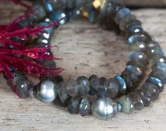 Labradorite Bracelet, Tahitian Pearl Bracelet, Stack Bracelets, Stretch Bracelets, Pearl Bracelets, Bridal Jewelry, Beaded Bracelets, Boho