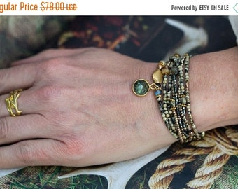 SPRING SALE Wrap Bracelet, Beaded Bracelet, Stretch Bracelet, Labradorite Bracelet, Pyrite Bracelet, Seed Bead Bracelet, Tiny Bead Bracelet,
