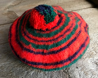Scottish Wool Tartan Tam, Striped Wool Beret Hat Cap, Made in Scotland