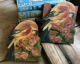 Folk Art Wood Bookends, 1930s, Hand Painted Birds and Flowers, Bookshelf Decor