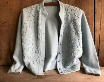 1950s Cashmere Cardigan Sweater, Embroidered Appliqué, 5 Button Down, Small Medium