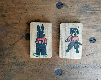 2 Japanese Locker Tags, Hand Stamped, Vintage - Free Postage - Two Rare Japanese Vintage Wooden Child's School Locker Tags