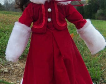Half Off July Sale Porcelain Doll Brunette with Victorian Red Dress Muffs with Stand