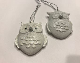 set of 2 metal with glitter owl charms ornaments, 40 mm tall (BR2)