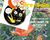 PRE-SALE! Colorful Enamel Pin Cat 'Curious Nature Cat' by Paper Puffin
