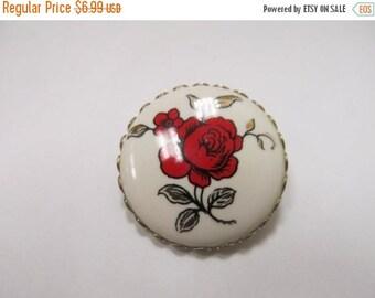 ON SALE Vintage Red Floral Pin Item K # 1961