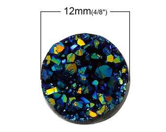 Round resin druzy 12mm Sapphire cabochon