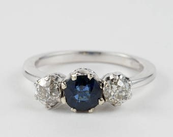 Gorgeous Art Deco Sapphire diamond trilogy ring