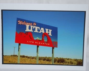 photo card, Welcome to Utah Sign, travel Photography