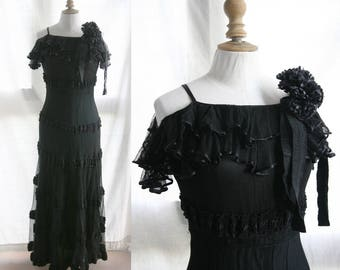 Vintage 1930's Long black dress, tulle, silk and ottoman ribbons