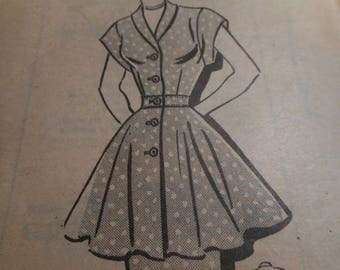 Vintage 1950's Marian Martin 9408 Mail Order Dress or Tunic, Skirt Peplum Sewing Pattern Size Bust 30
