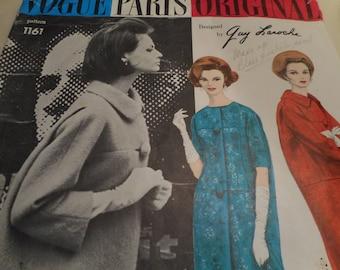 Vintage 1960's Vogue 1161 Paris Original Guy Laroche Coat Sewing Pattern Size 14 Bust 34